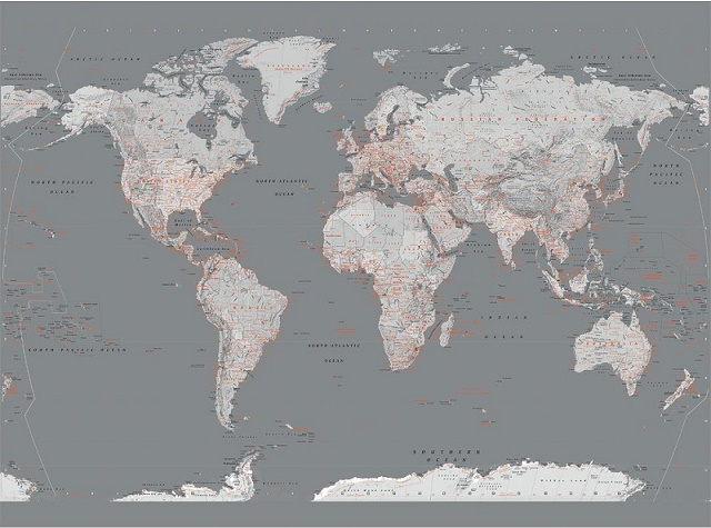 Wall Mural Wallpaper Xcm Silver Map Of The World Home Walls - World map mural wallpaper uk